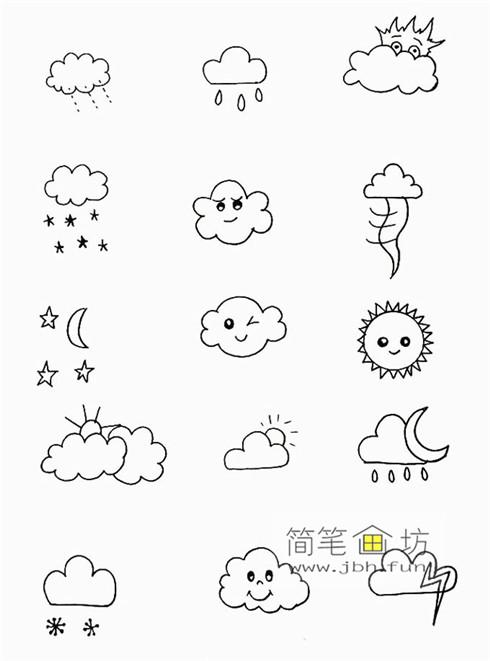 一组可爱的天气手帐简笔画图片(2)