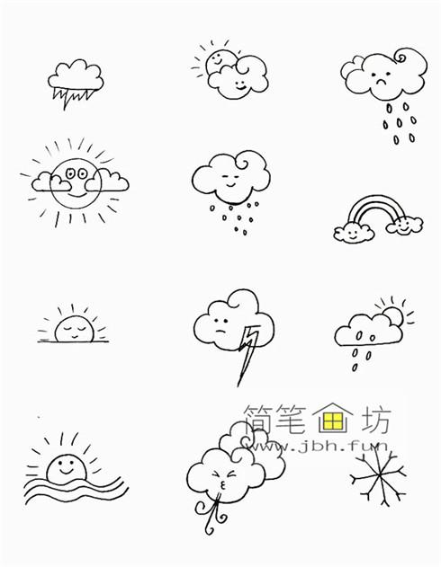 一组可爱的天气手帐简笔画图片(9)
