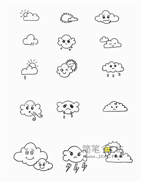一组可爱的天气手帐简笔画图片(3)