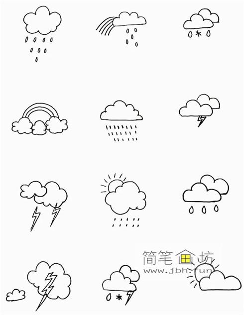 一组可爱的天气手帐简笔画图片(5)