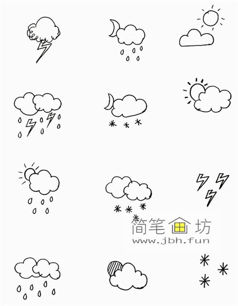 一组可爱的天气手帐简笔画图片(8)