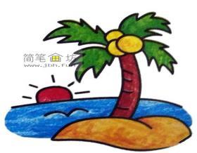 漂亮的海中小岛彩色简笔画图片