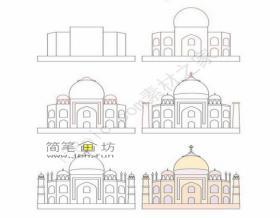 城堡简笔画画法图解