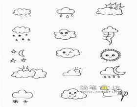 一组可爱的天气手帐简笔画图片