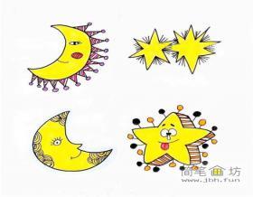 卡通彩色星星和月亮简笔画图片