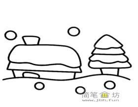 儿童简笔画:雪中小房子和松树的画法图片