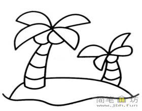简笔画椰树小岛图片