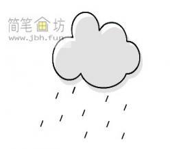 儿童简笔画教程:乌云下雨的画法