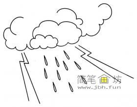 雷雨天气简笔画图片