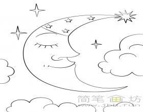 睡觉的月亮简笔画