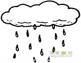 简笔画下雨的云朵