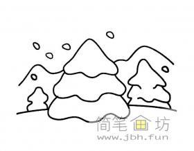 大雪风景简笔画图片