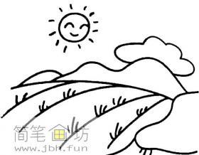 儿童简笔画:麦田风景简笔画