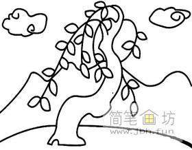 婀娜的柳树简笔画图片