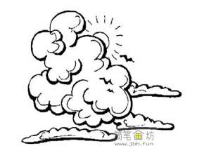 一大片云朵简笔画图片素材