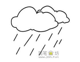 关于下雨的简笔画图片2幅