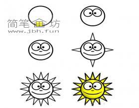 6个步骤学画太阳简笔画
