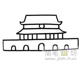 卡通天安门简笔画画法图片
