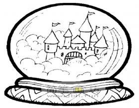 魔法水晶球里的城堡简笔画图片