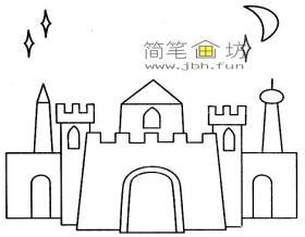 夜晚城堡简笔画图片1幅