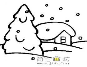 冬日雪景房屋简笔画图片