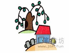 山上小屋春景图的简笔画教程