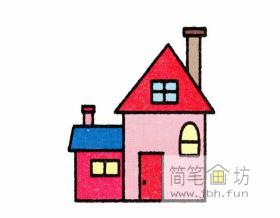 带烟囱的房屋的简笔画教程