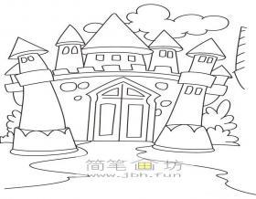 漂亮的城堡简笔画图片1幅