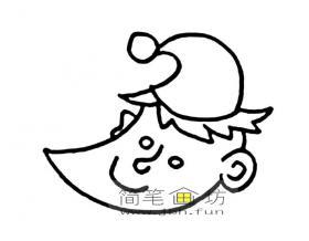 戴帽子的卡通月亮简笔画图片