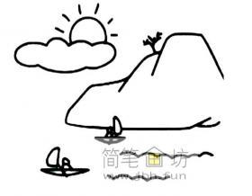 山峡风景简笔画