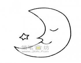 卡通月亮的简笔画绘画详解