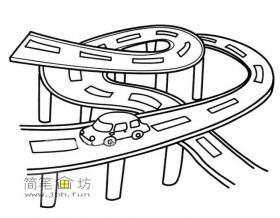 立交桥的简笔画图片1幅