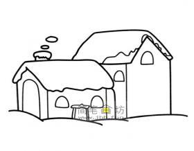 雪中房屋的简笔画图片