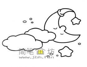 卡通夜晚月亮星星白云简笔画图片