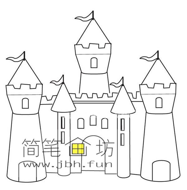 美丽的城堡简笔画图片(1)