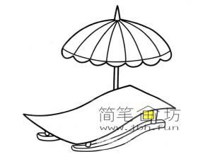 躺椅和遮阳伞简笔画图片