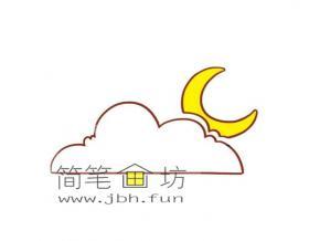 云中月亮简笔画图片2幅