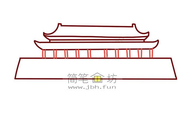 彩色天安门儿童简笔画教程(5)