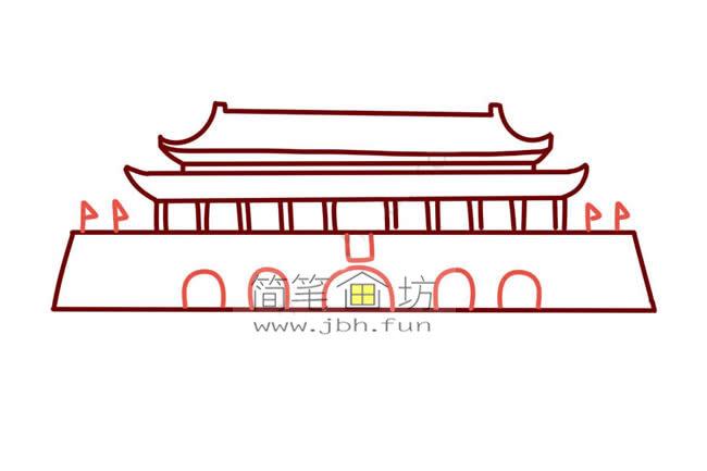 彩色天安门儿童简笔画教程(6)