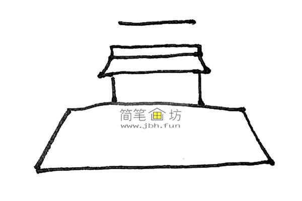 一步步教你画彩色天安门简笔画(4)