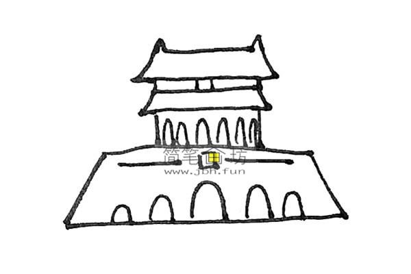 一步步教你画彩色天安门简笔画(7)