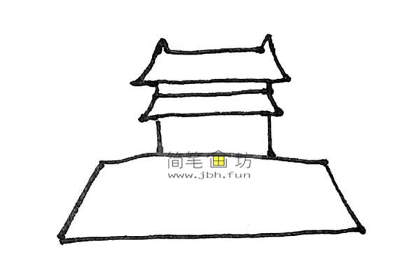 一步步教你画彩色天安门简笔画(5)