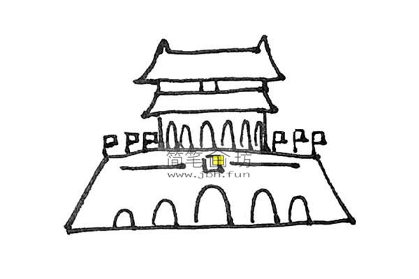 一步步教你画彩色天安门简笔画(8)