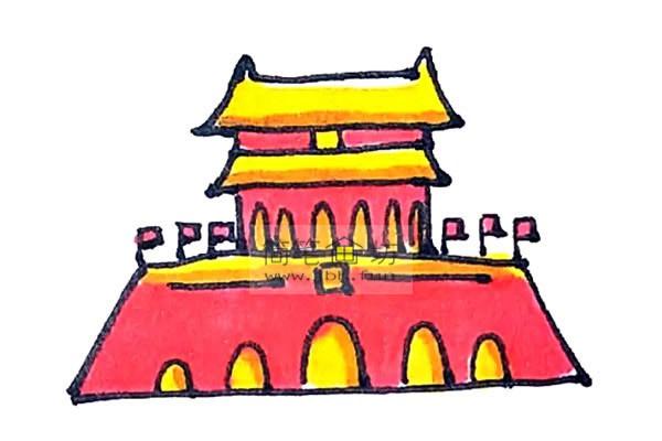 一步步教你画彩色天安门简笔画(9)