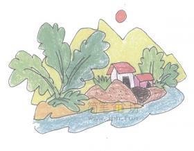 4步教你如何画风景如画的村舍【彩色】