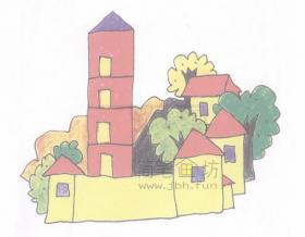 美丽的村庄简笔画绘画教程【彩色】
