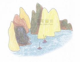 简单4步教你画岛屿简笔画【彩色】