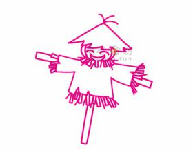 稻草人简笔画绘画步骤