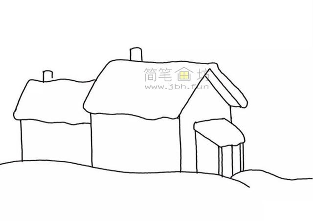 冬季雪屋简笔画画法步骤教程【彩色】(3)
