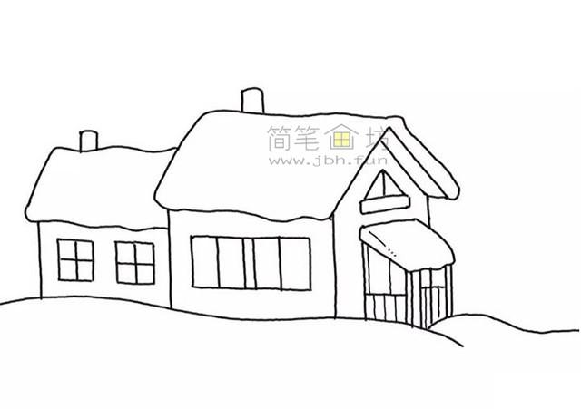 冬季雪屋简笔画画法步骤教程【彩色】(4)